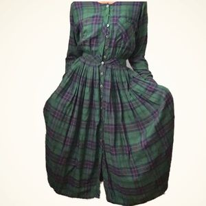Vintage Plaid Lightweight Maxi Dress